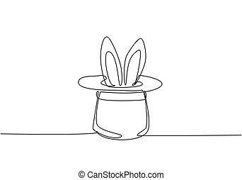 Single one line drawing the magic hat was turned upside down, then there were rabbit ears sticking out of it. A magic show at a circus performance. One line draw design graphic vector illustration.