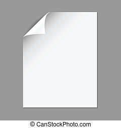Single piece of paper with folding corner, isolated on a gray background. EPS10 file with transparency.