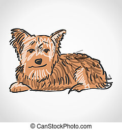 Illustration of brown dog isolated on white background