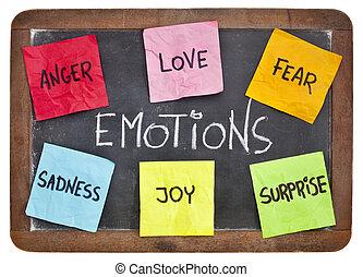 six basic emotions - love, fear, joy, anger, surprise and sadness - sticky notes on a vintage slate blackboard