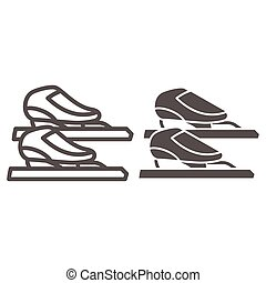 Skater skates line and solid icon, Winter sport concept, Skating sign on white background, Figure skates symbol in outline style for mobile concept and web design. Vector graphics.
