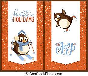 Skating and Skiing Penguins, Happy Winter Holidays