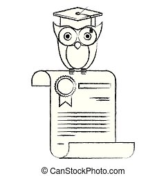 sketch blurred silhouette of owl knowledge in certificate