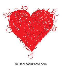 Sketch heart shape red for your design