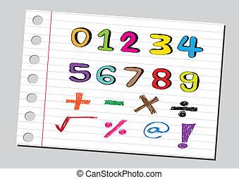 sketch numbers and mathematics symbols