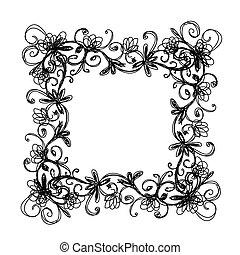 Sketch of floral frame for your design