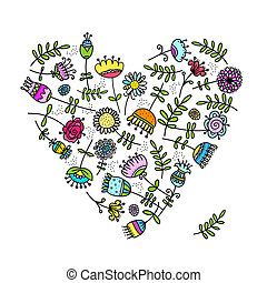 Sketch of floral heart for your design