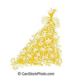 Sketch of golden dress with floral ornament for your design