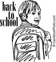 Sketch of School kid smiling. Vector illustration