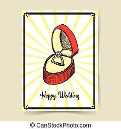 Sketch wedding ring in box