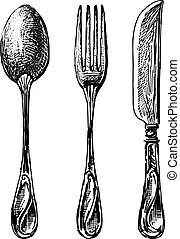 Sketches of a set of cutlery