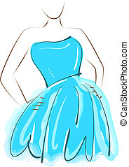 Sketch of abstract girl posing in blue dress