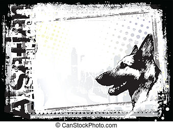 sketching of the alsatian dog backgorund