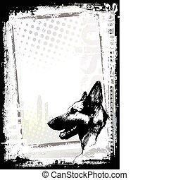 sketching of the alsatian dog poster backgorund