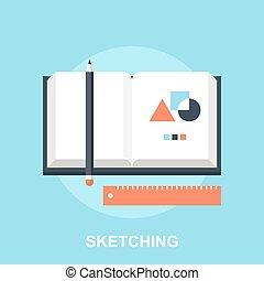 Vector illustration of sketching flat design concept.