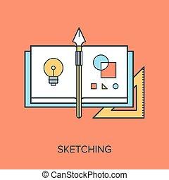 Vector illustration of sketching flat line design concept.