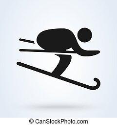 Ski, Cross country skier. Simple vector modern icon design illustration.