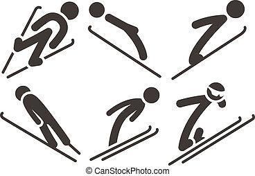 Ski jumping icons set