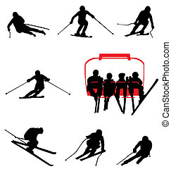 many ski silhouettes with high detail