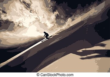 Skier in the mountains