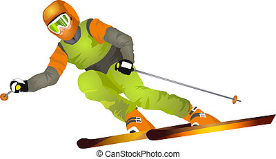 Skier on the highway isolated on white background (vector illustration)