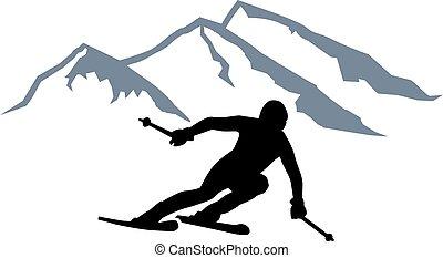 Skier Silhouette Mountains