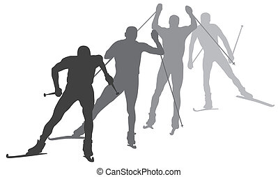 Abstract vector illustration of skiers