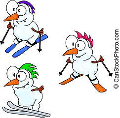 Three funny cartoon snowmen are skiing.