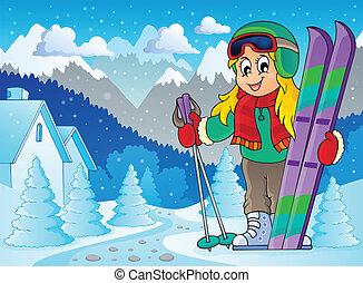 Skiing theme image 2 - eps10 vector illustration.