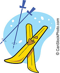 Spot Illustration of a pair of skis and poles