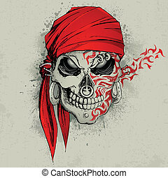 illustration of skull with bandana on abstract grungy background