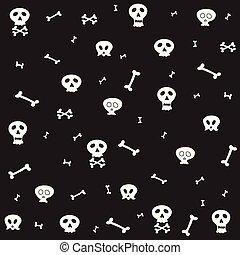 Skull bone seamless pattern Halloween scarf isolated cartoon repeat wallpaper tile background illustration doodle design