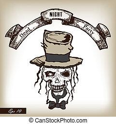 Skull in heat. Party invitation in horror stylle. Hand drawn ill