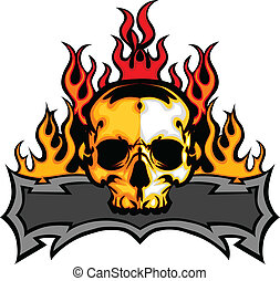 Graphic Skull Vector Image Template with Flames