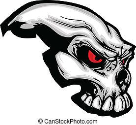 Skull with Cartoon Vector Image