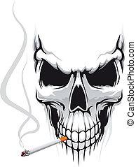 Danger skull smoka a cigarette for t-shirt design