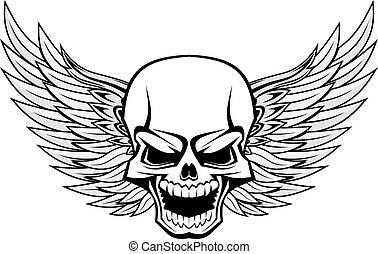 Danger smiling skull with wings for tattoo design