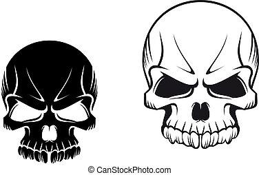 Danger evil skulls for tattoo or mascot design