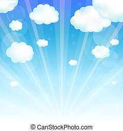Sky And Cloud, Vector Illustration