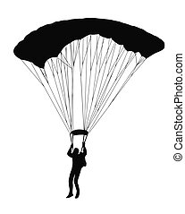 Silhouette of sky diver with open parachute