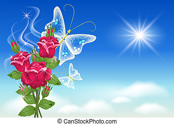Flowers and butterflies in the sky