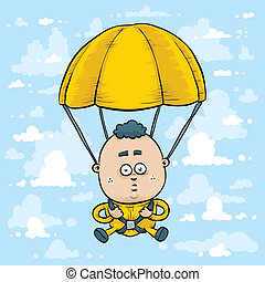 A cartoon skydiver with parachute open.