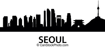 detailed skyline illustration of Seoul, South Korea