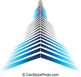 Skyscraper Icon in modern style and perspective