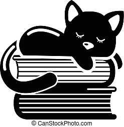 Sleeping cat icon. Simple illustration of sleeping cat vector icon for web
