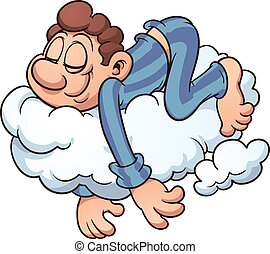 Man sleeping on a cloud. Vector cartoon illustration with simple gradients. All in a single layer.