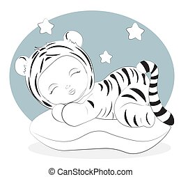 sleeping tiger baby coloring book