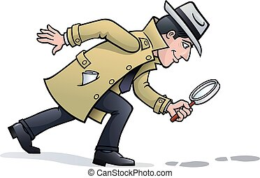 Cartoon illustration of a retro looking sleuth character wearing a hat and trench coat and holding a magnifying glass, looking for clues and seeing footprints on the ground.