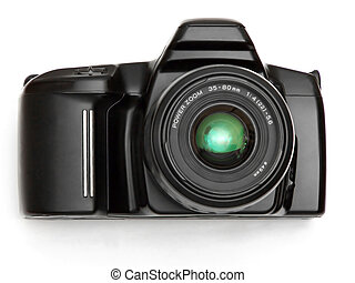 black SLR camera