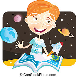 Small boy with story book